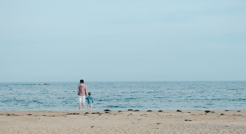 Father and Son Near Sea